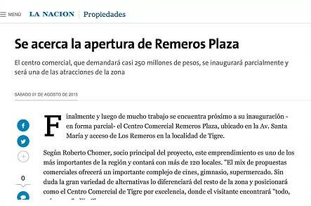 La Nación – Se acerca la apertura de Remeros Plaza